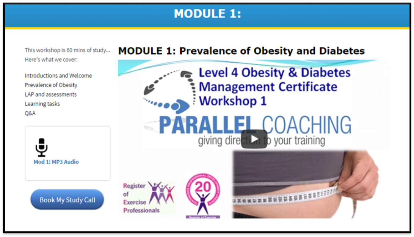 level 4 obesity and Diabetes Qualification - Screenshot of module 1
