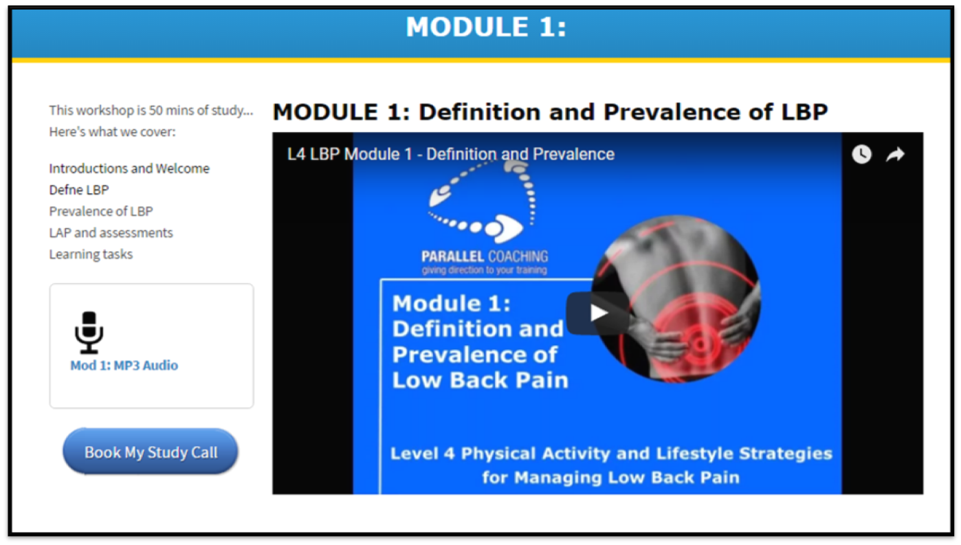 level 4 low Back pain certification online - Screenshot of module 1